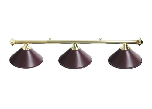 55′ Light Brass Rail With 3 Maroon Shades
